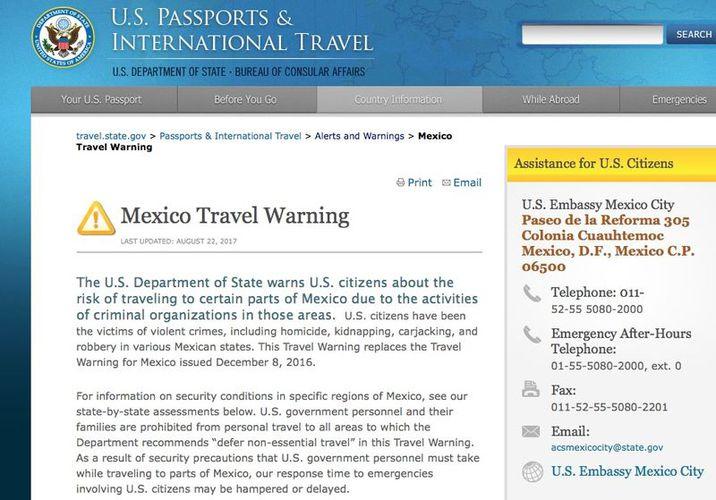Emite alerta Estados Unidos para viajar a Guerrero