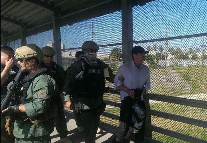 Héctor Palma Salazar fue entregado en Matamoros bajo un fuerte dispositivo de seguridad. (Excélsior)