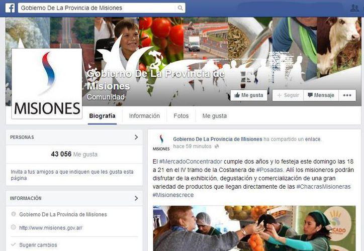El perfil en Facebook de la provincia de Misiones, Argentina, gobernada por Maurice Gloss, cuenta con más de 43 mil 'Me Gusta'; otra partida de recursos públicos fueron destinados a pagar anuncios en Google, según reveló el diario Clarín. (Facebook/Gobierno de la Provincia de Misiones)