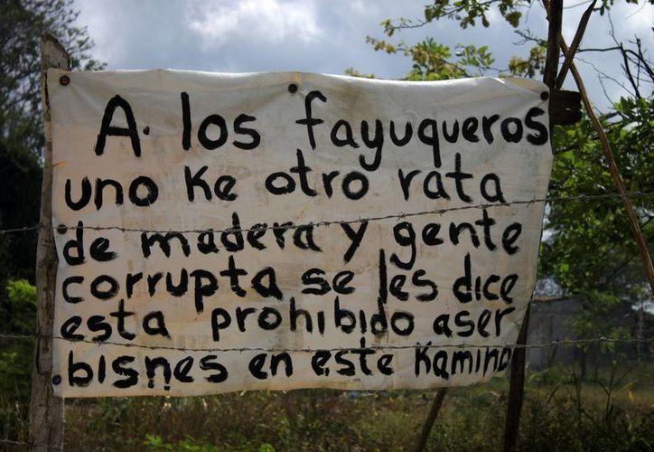 Uno de los anuncios se encuentra ubicado cerca del puente que dirige a la localidad de Subteniente López. (Harold Alcocer/SIPSE)