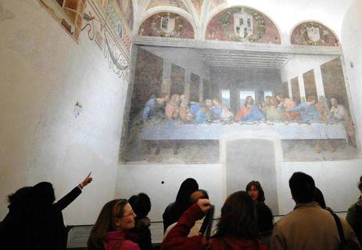 Imagen de la pintura 'La última cena, que se conserva en el Cenáculo de la Iglesia Santa Maria delle Grazie, en Milán, Italia. (ANSA)