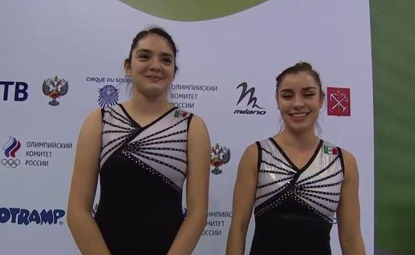 Las mexicanas Dafne Navarro y Melissa Flores ganaron la medalla de bronce en la prueba sincronizada del Mundial de Gimnasia de Trampolín.  (FIG Channel)
