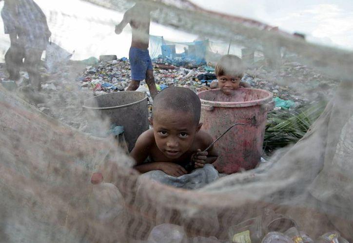 Niños filipinos juegan dentro de un mosquitero en un tiradero de basuras donde se reproducen millones de huevos de mosquito en Las Pinas, Filipinas. (Archivo/EFE)