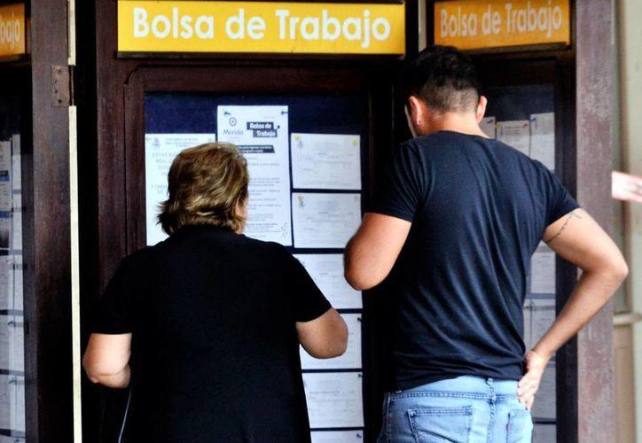 Autoridades estatales impulsarán a quienes quieren iniciar un negocio propio. Imagen de contexto de dos personas mirando los anuncios de la bolsa de trabajo. (Milenio Novedades)