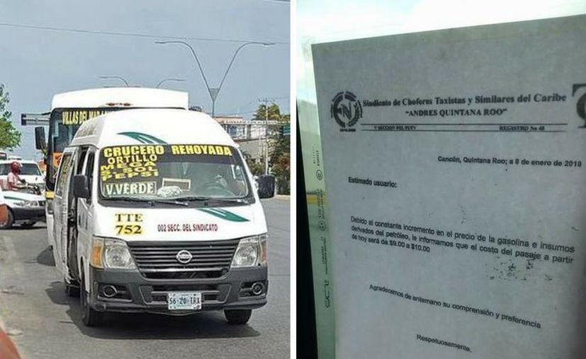 Aumentan las tarifas de las combis en Cancún. (Archivo/SIPSE)