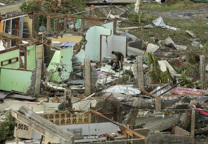 Un filipino residente en la devastada ciudad de Tacloban, en la provincia filipina de Leyte. (EFE)