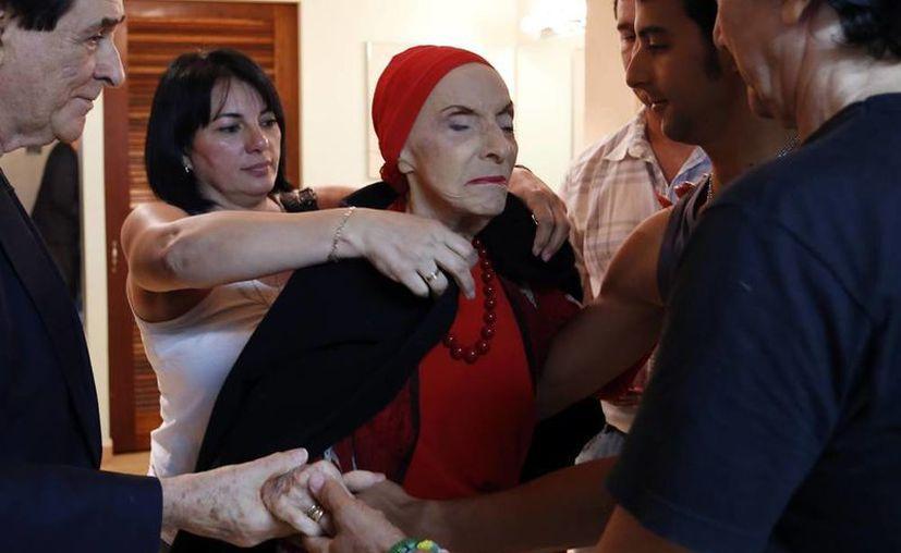 La legendaria coreógrafa y bailarina cubana Alicia Alonso en el Centro de Bellas Artes de San Juan. (EFE)