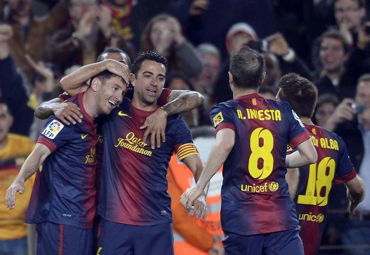 La victoria por la 35a fecha permite al Barsa, que suma 91 unidades, seguir aspirando a igualar el récord de los 100 puntos firmado por el Real Madrid la pasada campaña. (Agencias)