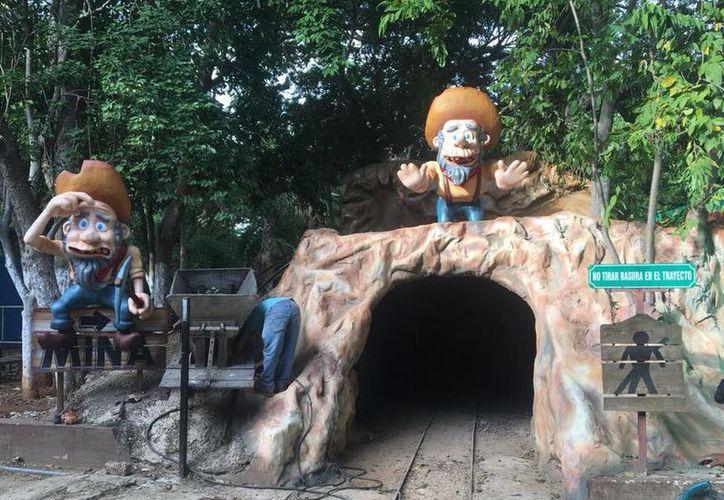 Así está quedando la entrada del túnel del trenecito en el Centenario de Mérida. (Facebook)