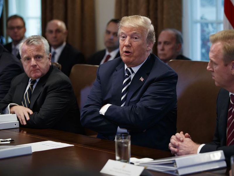 President Donald Trump speaks during a cabinet meeting at the White House, in Washington.