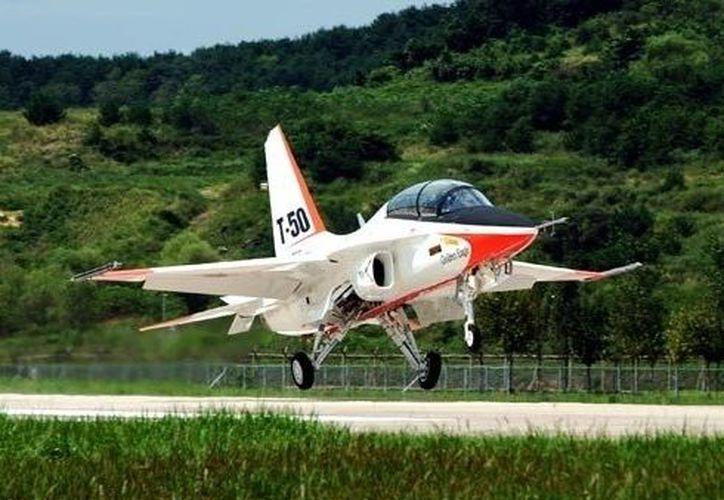 El avión caza, como el de la imagen, tuvo trágico final durante ejercicios de entrenamiento. (Internet)