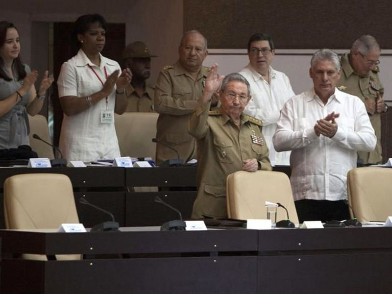 Cuba's Raul Castro, front left, and then vice president Miguel DiazCanel, front right.