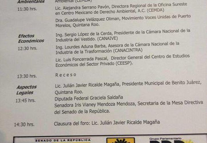 Programa del Foro Nacional del Dragon Mart Cancún. (Twitter: @GracielaSaldana)