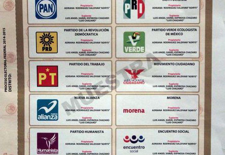 La boleta de elección de diputados federales para el proceso electoral federal 2014-2015 quedó de esta manera. (Notimex)