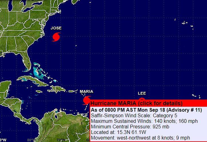 El Centro Nacional de Huracanes con sede en la ciudad de Miami emitió advertencias de huracán para Puerto Rico, Culebra y Vieques, Guadalupe, Dominica, St. Kitts, Nevis, Monserrat, Martinica, Islas Vírgenes británicas y estadounidenses. (NHC)