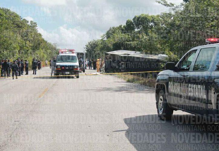 El accidente se registró a la altura del kilómetro cinco en la vía Cafetal-Mahahual. (Joel Zamora/SIPSE)