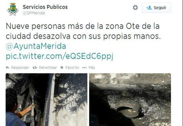 El mensaje que colocó Servicios Públicos Municipales en su cuenta de Twitter. (SIPSE)