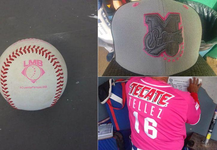 Con detalles en color rosa en accesorios del uniforme de los jugadores, la Liga Mexicana de Béisbol inició una campaña sobre la igualdad de género. (Milenio)