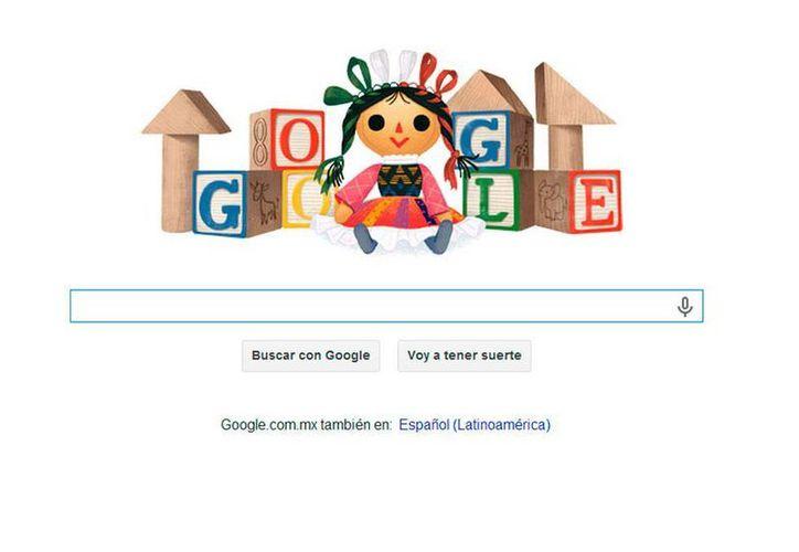 El Día del Niño se celebra hoy en México y por eso Google lo celebra con una muñeca con motivos muy mexicanos; el festejo mundial no es hoy sino en noviembre. (Captura de pantalla)