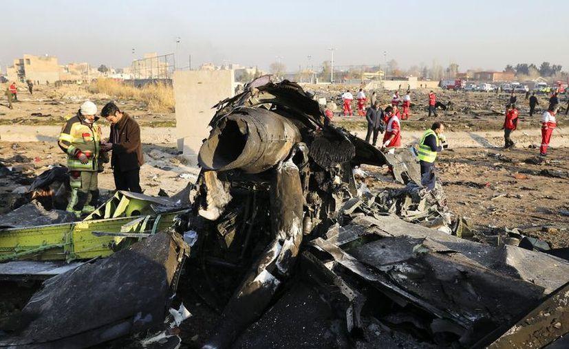ARCHIVO - En esta foto de archivo del miércoles 8 de enero de 2010, se ven restos en el lugar donde se estrelló un avión ucraniano al suroreste de Teherán, Irán. (AP Foto/Ebrahim Noroozi, Archivo)