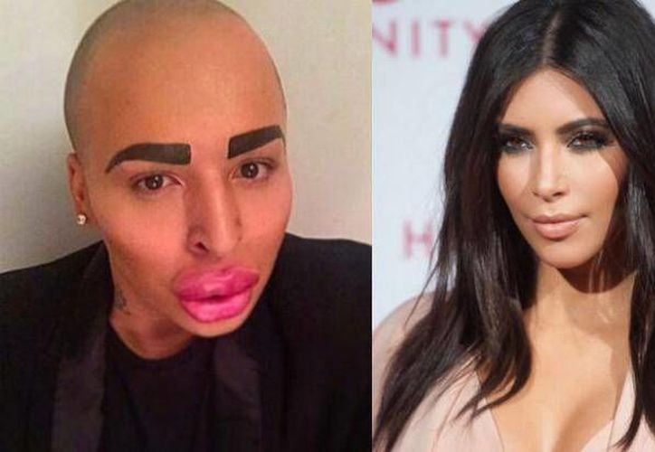Jordan James Parke modificó sus labios, cejas y ojos para ser igual a Kim Kardashian. (vibe.com)