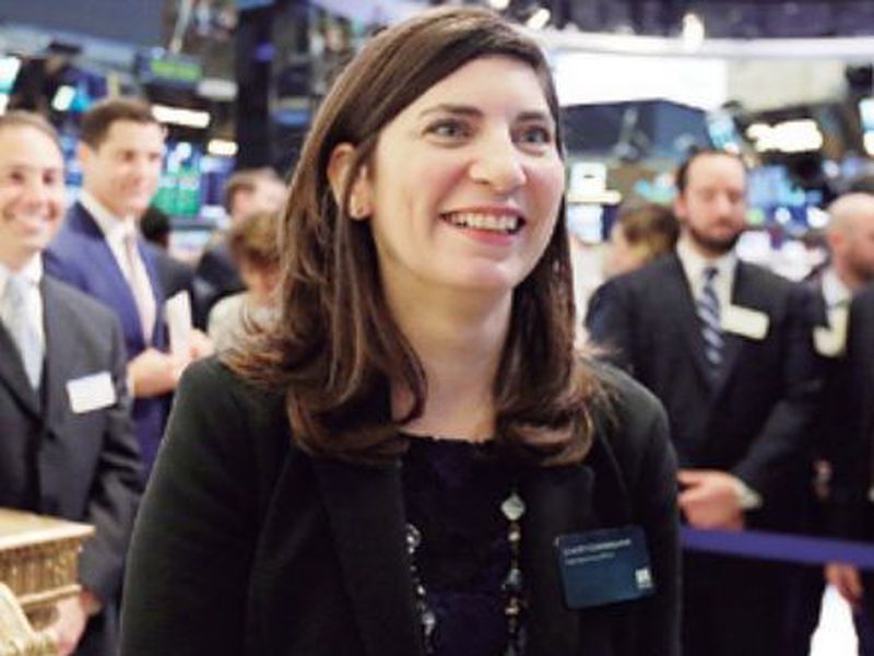 Stacey Cunningham, the current New York Stock Exchange COO, who will become the exchange's 67th president, visits the floor of the NYSE. (AP)
