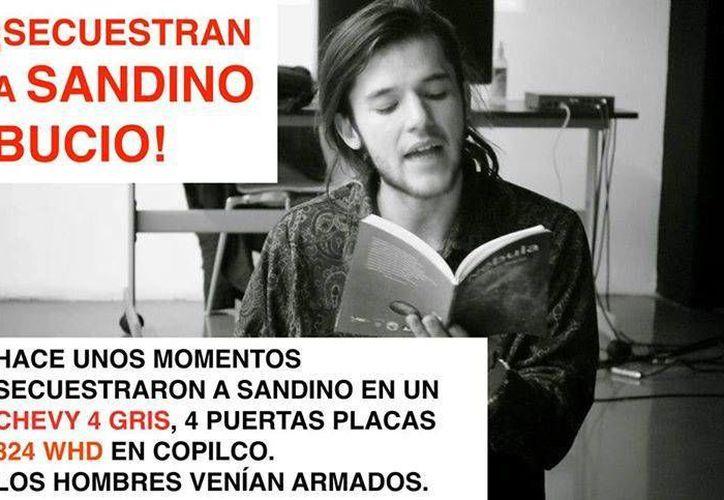 Usuarios de Twitter reportan el secuestro del estudiante Sandino Bucio Dovalí. (Twitter)