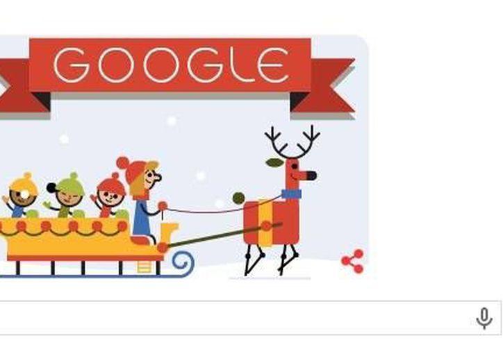 En el sitio web de Google se puede apreciar este alegre Doodle animado, con el cual desea una Feliz Navidad. (Captura de pantalla/Google.com)