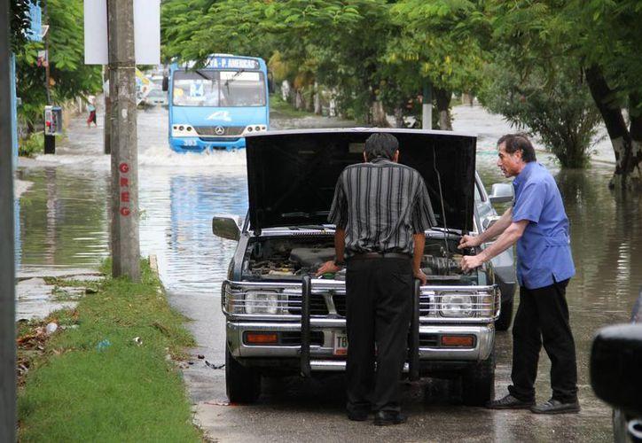 Algunos vehículos sufrieron daños por el nivel de agua de las calles y avenidas. (Tomás Álvarez/SIPSE)