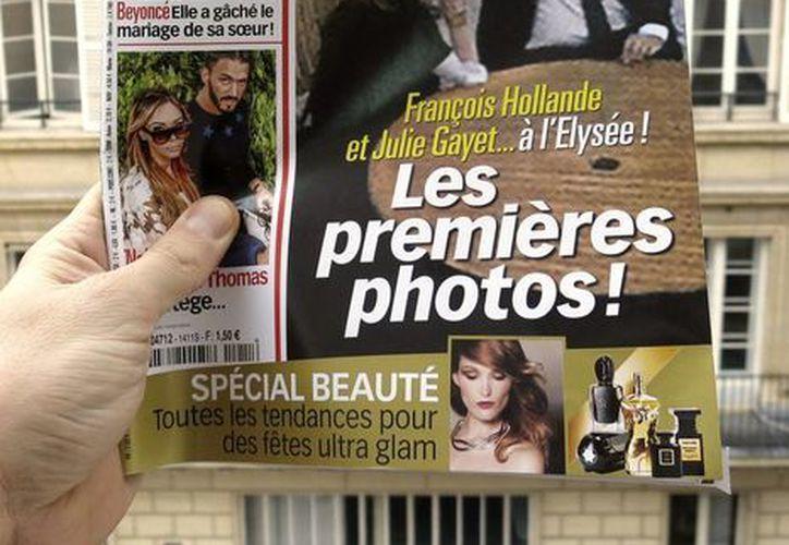 Esta revista publicó las primeras fotos juntos del presidente de Francia, François Hollande, y su supuesta pareja sentimental, la actriz y productora Julie Gayet. (EFE/Archivo)