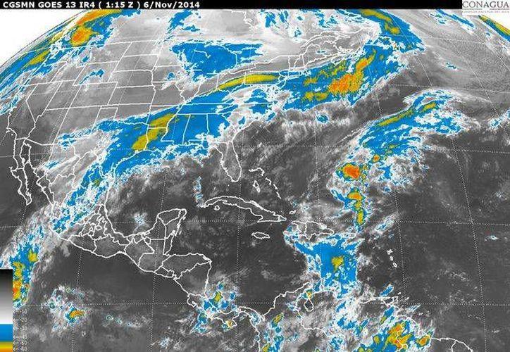 Imagen de satélite de la ubicación de 'Vance', en proceso de disipación en tierra. (conagua.gob.mx)