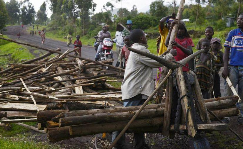 Un grupo de niños entrega madera para la construcción de una casa, que fue destruida por un disparo de mortero del ejército congoleño en la lucha con rebeldes del M23. (Agencias)