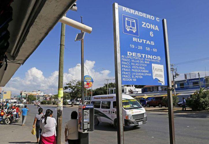 Los paraderos son colocados en las avenidas Tulum, José López Portillo y Miguel Hidalgo.  (Jesús Tijerina/SIPSE)