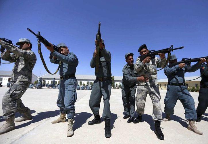 Agentes de policía afganos participan en un entrenamiento en una academia policial en la provincia de Herat, Afganistán. (EFE)