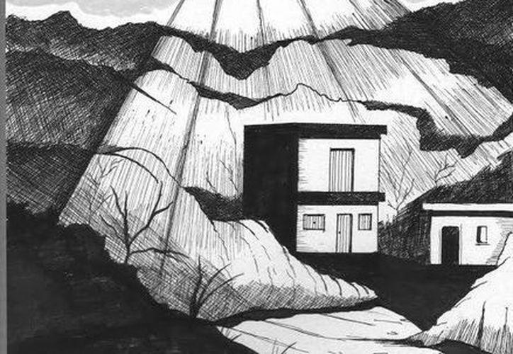 Representación gráfica del OVNI que iluminó una casa en Buctzotz. (Jorge Moreno/SIPSE)