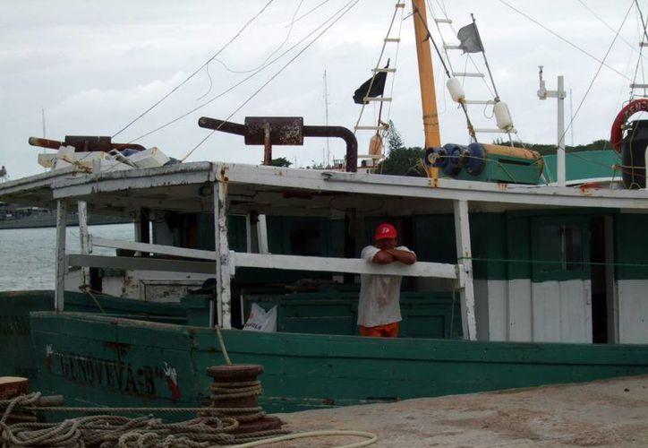 Se darán a conocer los nombres de los beneficiados del Programa de Empleo Temporal por la veda del mero. Imagen de un pescador en su embarcación en el puerto de Progreso. (Milenio Novedades)