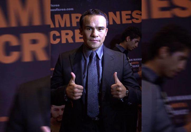 Juan Manuel Márquez está orgulloso de ser parte del proyecto Campeones Ficrea, para apoyar al box mexicano y del que será la imagen de la campaña. (Notimex)