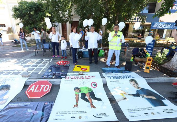 """Se conmemoró el """"Día Mundial en Recuerdo de las Víctimas por Siniestros de Tránsito"""" en Paseo de Montejo.(Foto: Milenio Novedades)"""