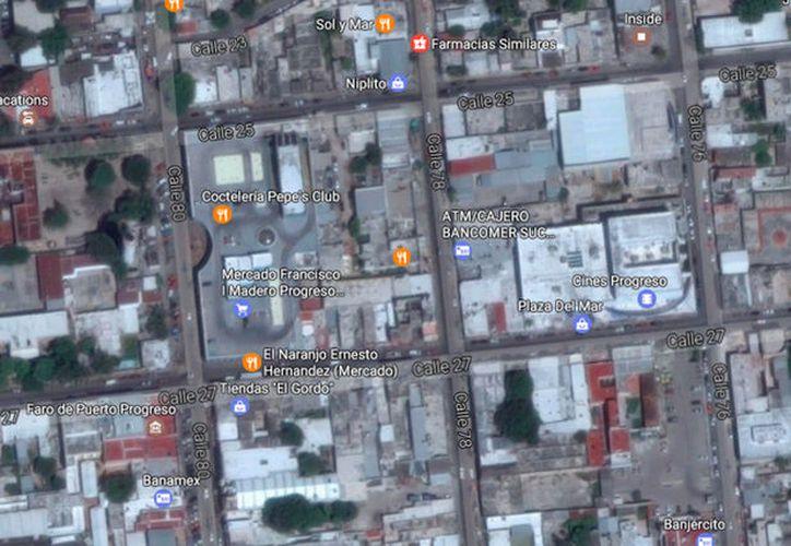 Imagen de satélite -tomada de Google Maps- en la que puede verse la zona de Progreso, en donde un hombre entró, a plena luz del día, a robar.  La imagen sólo está utilizada con fines ilustrativos.