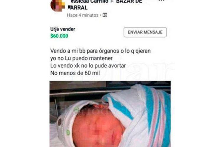 La publicación fue reportada por usuarios indignados por la insensibilidad de la supuesta madre. (Foto: Facebook)