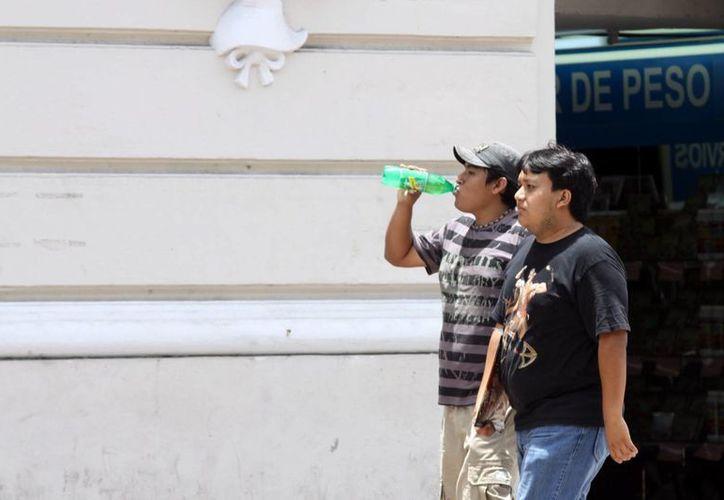 El consumo promedio per cápita de refrescos en los hogares yucatecos disminuyó tan solo 5.37 ml diarios. Imagen de dos jóvenes, uno de ello tomando un refresco para el calor. (Milenio Novedades)