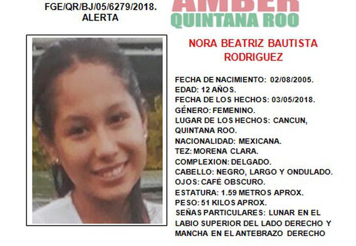 Los familiares de la menor solicitaron a la ciudadanía su colaboración para dar con el paradero de Nora. (Redacción)