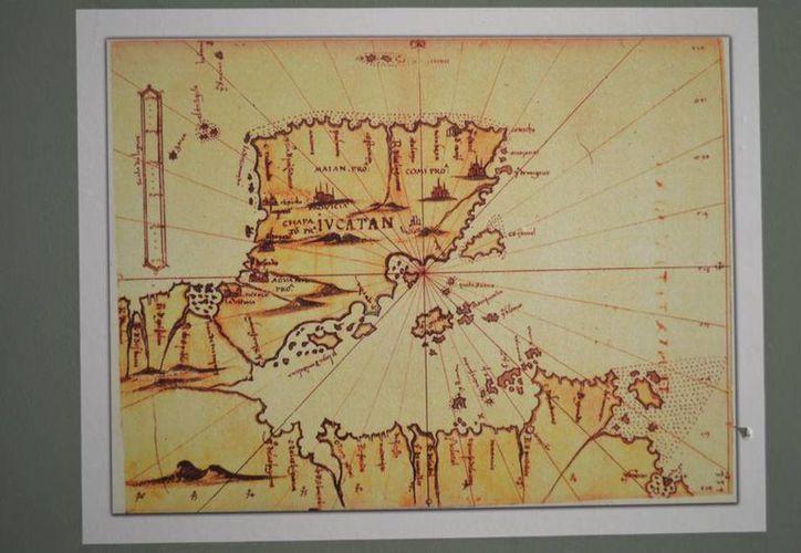 La muestra incluye primeros mapas y planos de la Península de Yucatán en la época de la Conquista hasta recientes trabajos cartográficos. (Notimex)