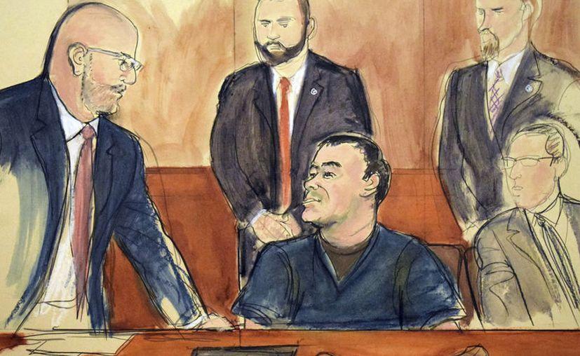 """Boceto de Joaquín """"El Chapo"""" Guzmán. (Foto AP)"""