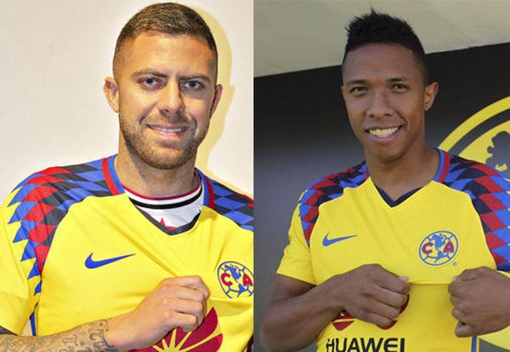 Andrés Ibargüen y Jérémy Ménez, se vistieron con el uniforme de Las Águilas para prepararse. (Foto: Twitter/Club América)