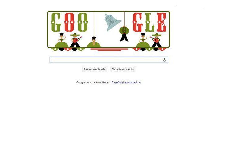 El doodle muestra a tres parejas de mariachis y bailarinas, una de las cuales hace repicar una gran campana. (google.com)
