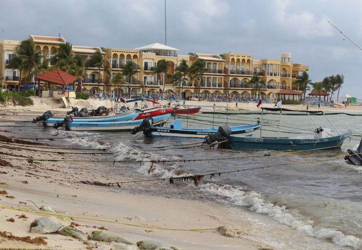 Dos trabajadores de la Dirección de la Zona Federal Marítimo Terrestre realizaron trabajos manuales para remover de la playa el sargazo. (Adrián Barreto/ SIPSE)