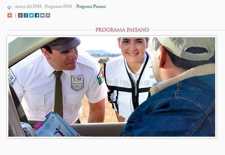 Captura de pantalla del sitio web del Instituto Nacional de Migración, donde se dan detalles del Operativo Paisano. (www.ine.gob.mx)