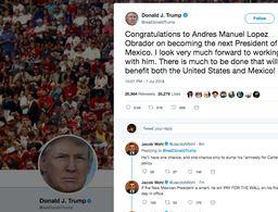 Trump felicita vía Twitter a AMLO por su triunfo