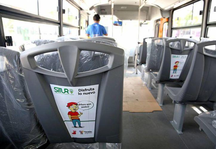 Interior de uno de los nuevos autobuses cómodos y  modernos que pronto circularán en las nuevas rutas. (Milenio Novedades)